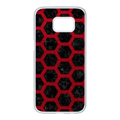 Hexagon2 Black Marble & Red Leather (r) Samsung Galaxy S7 Edge White Seamless Case