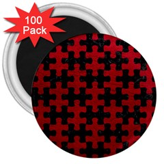 Puzzle1 Black Marble & Red Leather 3  Magnets (100 Pack) by trendistuff