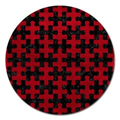 Puzzle1 Black Marble & Red Leather Magnet 5  (round) by trendistuff