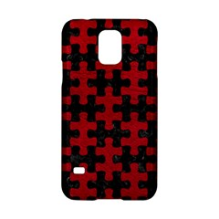 Puzzle1 Black Marble & Red Leather Samsung Galaxy S5 Hardshell Case  by trendistuff