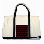 ROYAL1 BLACK MARBLE & RED LEATHER Two Tone Tote Bag Front