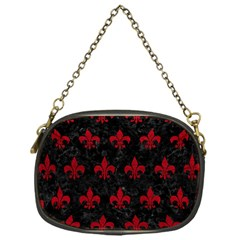 Royal1 Black Marble & Red Leather Chain Purses (one Side)
