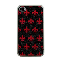 Royal1 Black Marble & Red Leather Apple Iphone 4 Case (clear) by trendistuff
