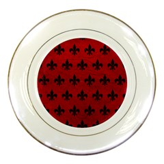 Royal1 Black Marble & Red Leather (r) Porcelain Plates by trendistuff