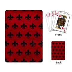 Royal1 Black Marble & Red Leather (r) Playing Card by trendistuff