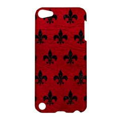 Royal1 Black Marble & Red Leather (r) Apple Ipod Touch 5 Hardshell Case by trendistuff