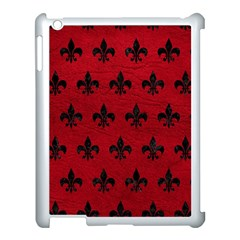 Royal1 Black Marble & Red Leather (r) Apple Ipad 3/4 Case (white) by trendistuff