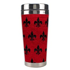 Royal1 Black Marble & Red Leather (r) Stainless Steel Travel Tumblers by trendistuff