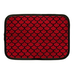 Scales1 Black Marble & Red Leather Netbook Case (medium)