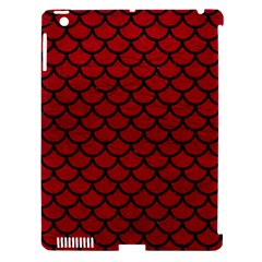 Scales1 Black Marble & Red Leather Apple Ipad 3/4 Hardshell Case (compatible With Smart Cover)