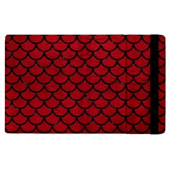 Scales1 Black Marble & Red Leather Apple Ipad 2 Flip Case by trendistuff