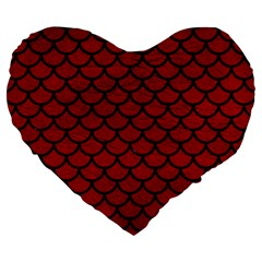 Scales1 Black Marble & Red Leather Large 19  Premium Heart Shape Cushions by trendistuff