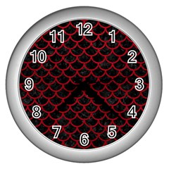 Scales1 Black Marble & Red Leather (r) Wall Clocks (silver)  by trendistuff