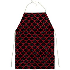 Scales1 Black Marble & Red Leather (r) Full Print Aprons by trendistuff