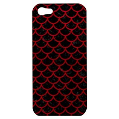 Scales1 Black Marble & Red Leather (r) Apple Iphone 5 Hardshell Case by trendistuff