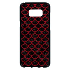 Scales1 Black Marble & Red Leather (r) Samsung Galaxy S8 Plus Black Seamless Case by trendistuff