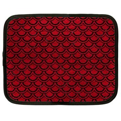 Scales2 Black Marble & Red Leather Netbook Case (large) by trendistuff