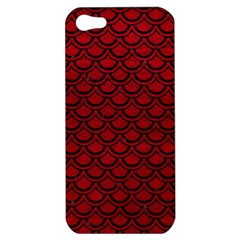 Scales2 Black Marble & Red Leather Apple Iphone 5 Hardshell Case by trendistuff