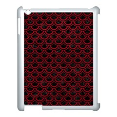 Scales2 Black Marble & Red Leather (r) Apple Ipad 3/4 Case (white) by trendistuff