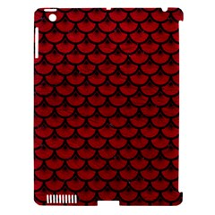 Scales3 Black Marble & Red Leather Apple Ipad 3/4 Hardshell Case (compatible With Smart Cover) by trendistuff