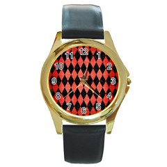 Diamond1 Black Marble & Red Brushed Metal Round Gold Metal Watch by trendistuff