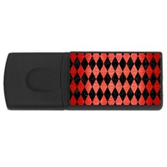 Diamond1 Black Marble & Red Brushed Metal Rectangular Usb Flash Drive by trendistuff