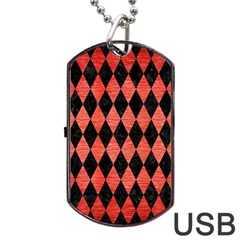 Diamond1 Black Marble & Red Brushed Metal Dog Tag Usb Flash (two Sides) by trendistuff