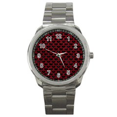 Scales3 Black Marble & Red Leather (r) Sport Metal Watch by trendistuff