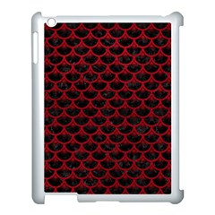 Scales3 Black Marble & Red Leather (r) Apple Ipad 3/4 Case (white)