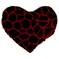 Skin1 Black Marble & Red Leather Large 19  Premium Heart Shape Cushions by trendistuff