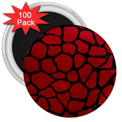 Skin1 Black Marble & Red Leather (r) 3  Magnets (100 Pack) by trendistuff