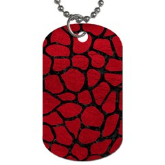 Skin1 Black Marble & Red Leather (r) Dog Tag (one Side) by trendistuff
