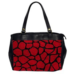 Skin1 Black Marble & Red Leather (r) Office Handbags (2 Sides)  by trendistuff