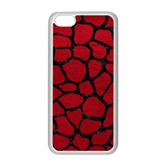 Skin1 Black Marble & Red Leather (r) Apple Iphone 5c Seamless Case (white) by trendistuff