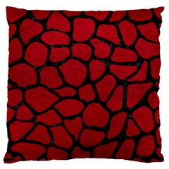 Skin1 Black Marble & Red Leather (r) Standard Flano Cushion Case (one Side) by trendistuff
