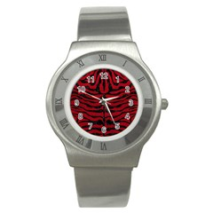 Skin2 Black Marble & Red Leather Stainless Steel Watch by trendistuff