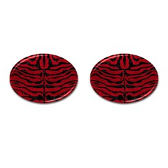 Skin2 Black Marble & Red Leather Cufflinks (oval) by trendistuff