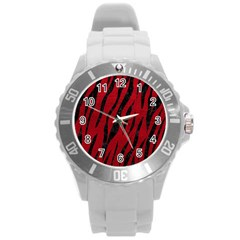 Skin3 Black Marble & Red Leather Round Plastic Sport Watch (l) by trendistuff