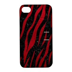Skin3 Black Marble & Red Leather (r) Apple Iphone 4/4s Hardshell Case With Stand by trendistuff