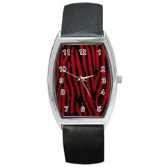 Skin4 Black Marble & Red Leather Barrel Style Metal Watch by trendistuff