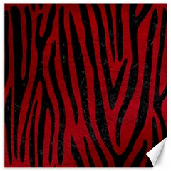 Skin4 Black Marble & Red Leather (r) Canvas 12  X 12   by trendistuff
