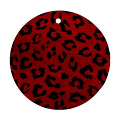 Skin5 Black Marble & Red Leather (r) Round Ornament (two Sides) by trendistuff
