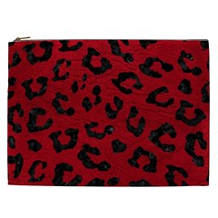 Skin5 Black Marble & Red Leather (r) Cosmetic Bag (xxl)  by trendistuff