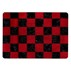 Square1 Black Marble & Red Leather Samsung Galaxy Tab 10 1  P7500 Flip Case by trendistuff