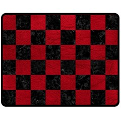 Square1 Black Marble & Red Leather Double Sided Fleece Blanket (medium)