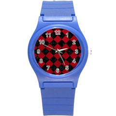 Square2 Black Marble & Red Leather Round Plastic Sport Watch (s) by trendistuff