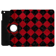 Square2 Black Marble & Red Leather Apple Ipad Mini Flip 360 Case by trendistuff