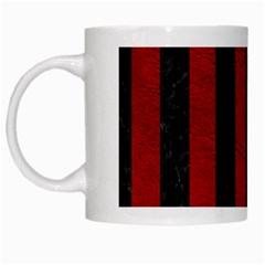 Stripes1 Black Marble & Red Leather White Mugs by trendistuff