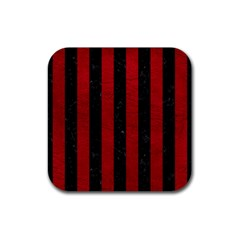 Stripes1 Black Marble & Red Leather Rubber Coaster (square)  by trendistuff
