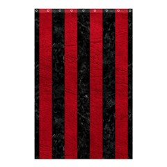 Stripes1 Black Marble & Red Leather Shower Curtain 48  X 72  (small)  by trendistuff